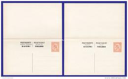 FINLAND 1926 PREPAID DOUBLE CARD 1Mk. + 1Mk. ORANGE HIGGINS & GAGE 64 UNUSED EXCELLENT CONDITION - Finlande