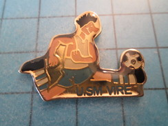 Pin415b Pin's Pins : Rare Et Belle Qualité SPORTS / FOOTBALL CLUB USM VIRE CALVADOS - Calcio