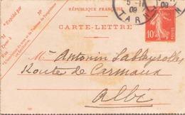 FRANCE CARTE LETTRE DU 5 NOVEMBRE 1911 DE ALBI POUR ALBI - Entiers Postaux