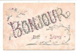 LIGNY      UN  BONJOUR  Carte Perlee - Sombreffe