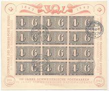 """Luxusblatt  """"100 Jahre Schweizerische Postmarken""""             1943 - Svizzera"""