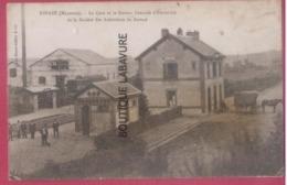 53 - RENAZE--La Gare Et La Station Centrale D'Electricité De La Société Des Ardoisieres De Renaze--animé - France