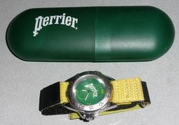 Rare Montre à Quartz PERRIER Bracelet Velcro, état Neuf Avec Sa Boite - Advertisement Watches