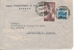 Italy Cover Sent Air Mail To Denmark Genova 20-6-1949 - Poste Aérienne