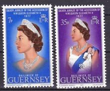 Guernsey, 1977, 145/46,  25 J. Regentschaft Königin, 25 J. Reign Queen. MNH ** - Guernesey