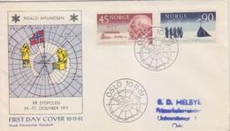 Polaire Norvègien N° 419, 420 (100° Ann. De L'expédition De R. Amundsen) Oblitéré Du 1° Jour Oslo Le 10 11 61 Sur FDC - Stamps