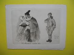 """Carte """" Le Médecin Malgré Lui ...""""  Signé Manuscrite Graveur Raoul Serres Novembre 1960 """" Avec Mes Meilleurs Voeux """" - Autographes"""