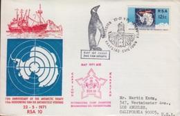 Polaire, N° 329 (10° Anniversaire Traité De L'Antarctique) Oblitéré Cape Town Le 22 V 71 Sur FDC - Lettres & Documents