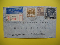 Indes Néerlandaises Lettre Voyagé Par Avion En Recommandé Pour La France Paris 1936 Avec Vignette Au Dos - Indes Néerlandaises