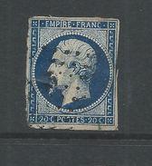 France 1853 Napoleon 20 Cent Blue    Closed Tear - 1853-1860 Napoleon III