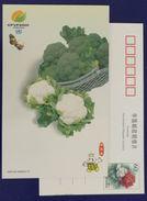 Broccoli & Cauliflower,CN 01 China Int′l Fruit & Vegetable Fair 2001 Advertising Postal Stationery Card - Legumbres