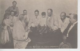 Carte Photo Tolstoï Jouant Aux échecs Devant Sa Famille - Tolstoï Playing Chess With His Family (très Beau Plan) - Russia