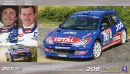 Championnat De France Des Rallyes 2002  -  Guythem Dussaucy/Olivier Beiot  -  Peugeot 206 Super 1600 - Carte Promo - Rallyes