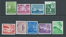 Mauritius 1953 QEII Definitives Part Set Of 9 ,  3c To 50c Green Mountain MNH - Mauritius (1968-...)