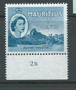 Mauritius 1953 QEII Definitives 5c Mountain Plate 2B Marginal Single MNH - Mauritius (1968-...)