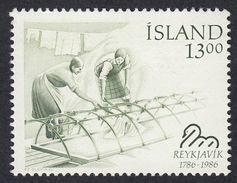 ISLAND Islanda Islande - 1986 - Yvert 609 Nuovo MNH; 13 Kr, Verde/nero E Verde; Donne Al Lavatoio. - 1944-... Republik