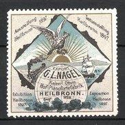Reklamemarke Heilbronn, Ausstellung 1897, Weltkugel, Adler Und Segelschiff - Erinnofilia