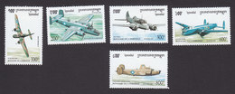 Cambodia, Scott #1452-1456, Mint Hinged, Planes, Issued 1995 - Cambodge