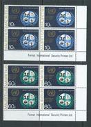 Mauritius 1970 United Nations Set Of 2 MNH As Imprint Blocks Of 4 - Mauritius (1968-...)
