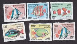 Cambodia, Scott #1466-1470, Mint Hinged, Fish, Issued 1995 - Cambodge