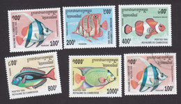 Cambodia, Scott #1466-1470, Mint Hinged, Fish, Issued 1995 - Cambodia