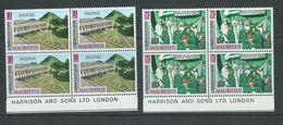 Mauritius 1971 Medical Conference Set 2 MNH Imprint Blocks Of 4 - Mauritius (1968-...)