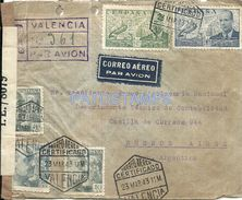 76686 SPAIN VALENCIA COVER YEAR 1943 REGISTERED CENSORED CIRCULATED TO ARGENTINA NO POSTAL POSTCARD - Spagna