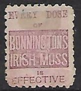 New Zealand, 1891-3, Queen Victoria, 1d With  Advert On The Back  BONNINGTON'S IRISH MOSS - 1855-1907 Crown Colony