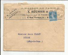 OBLITERATION MECANIQUE SUR LETTRE A EN TETE DE PARIS 50 DU 20/11/1924 - 1921-1960: Moderne