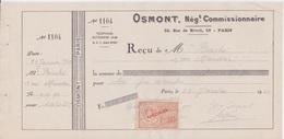 Fiscal Fiscaux - Timbre Specimen 1F20  Sur Reçu FACTICE école De Commerce PIGIER -  Cachet OSMONT 1942 - Fiscaux