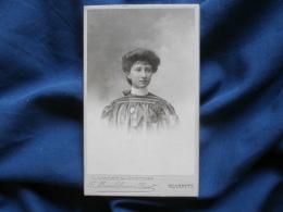 Photo CDV L. Vallet De Montano à Biarritz - Beau Portrait Nuage Jeune Femme Vers 1900 L322 - Fotos