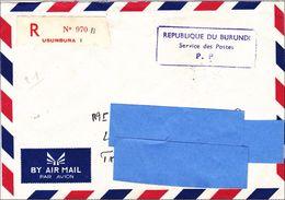 Z3] Enveloppe Recommandée Registered Cover Burundi 1986 Oblitération Port Payé Postage Paid étiquette Label - Burundi