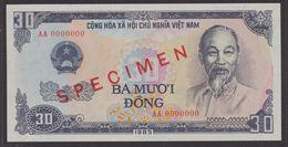 VIETNAM  SPECIMEN    BANKNOTE  30 D N°AA 0000000  PICK N° 95  VERY FINE- TTB - Vietnam