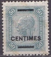 CRETE 1904-05 Austrian Office Stamps Of 1904 With Black Overprint 50 Centimes / 50 H Grey With Shiny Lines Vl. 11 MH - Kreta