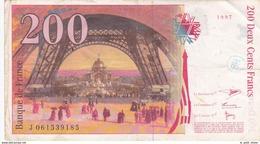 FRANCE BILLET DE 200 FRANCS EIFFEL 1997 ALPHABET J - 200 F 1995-1999 ''Eiffel''