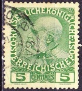 CRETE 1908-14 Austrian Office Glossy Paper 5 Centimes Green / Yellow Vl.17 - Kreta