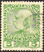 CRETE 1908-14 Austrian Office Austrian Stamps Of 1908 5 Centimes Green / Yellow Vl. 17 - Kreta