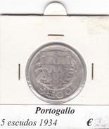 PORTOGALLO   5 ESCUDOS   ANNO 1934  COME DA FOTO - Portogallo