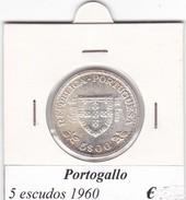 PORTOGALLO   5 ESCUDOS   ANNO 1960  COME DA FOTO - Portogallo