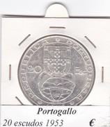 PORTOGALLO   20 ESCUDOS   ANNO 1953  COME DA FOTO - Portogallo