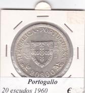 PORTOGALLO   20 ESCUDOS   ANNO 1960  COME DA FOTO - Portogallo