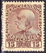 CRETE 1908-14 Austrian Office Glossy Paper 15 Centimes Brown / Flesh MH Vl.19 - Kreta