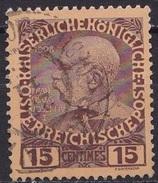 CRETE 1908-14 Austrian Office Glossy Paper 15 Centimes Brown /flesh Vl. 19 - Kreta