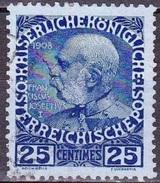 CRETE 1908-14 Austrian Office Non-glossy Paper 25 Centimes Deep Blue / Blue Vl. 24 - Kreta