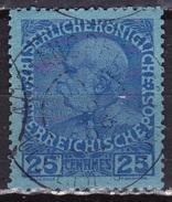 CRETE 1908-14 Austrian Office Non-glossy Paper 25 Centimes Deep Blue / Blue Vl. 24 Used - Kreta