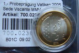 Vatican 1 Euro Specimen 2005 Sede Vacante - Certificate - Vaticaanstad
