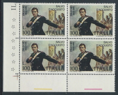 1975 ITALIA SALVO D'ACQUISTO QUARTINA MNH ** - ED - 6. 1946-.. Republic