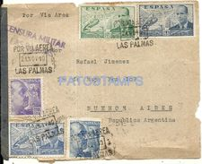 76734 SPAIN LAS PALMAS COVER YEAR 1940 CENSORED FRONT CIRCULATED TO ARGENTINA NO POSTAL POSTCARD - Spanien