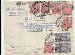 76736 INDIA NAWABGANJ COVER YEAR 1955 CIRCULATED TO US MULTI STAMPS NO POSTAL POSTCARD - Unclassified
