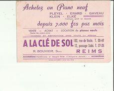Buvard  A  LA CLE DE SOL _Achetez Un PIANO NEUF Chez R  BOUVIER  Succ A REIMS 51 - Buvards, Protège-cahiers Illustrés